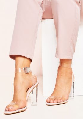 Nelly Baby Pink Perspex Rounded Strappy Heels