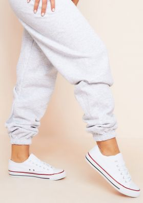 Hailey White Lace Up Trainers
