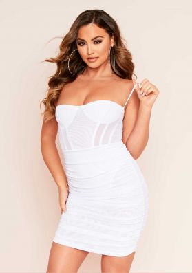 Zooey White Ruched Mesh Bodycon Dress