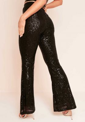 Hazel Black Sequin Flare Trousers