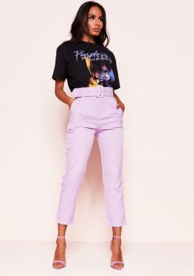 Shay Lilac High Waist Belted Trousers