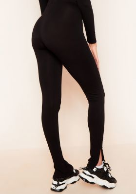 Lola Black Split Hem Leggings