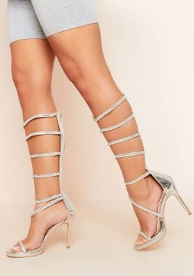 Eudora Silver Diamante Gladiator Zip Up Heels