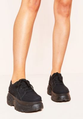 Kelly Black Chunky Lace Up Trainers