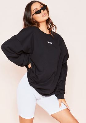 Ariana Black Basic Slogan Oversized Sweatshirt