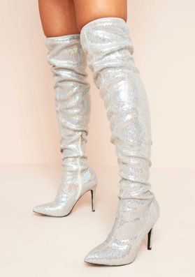 Kayley Silver Sequin Over The Knee Boots