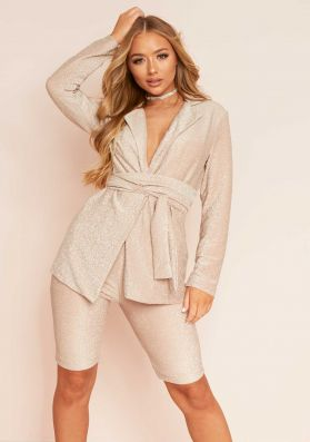 Emilia Gold Lurex Glitter Blazer & Cycle Shorts Co-Ord Set