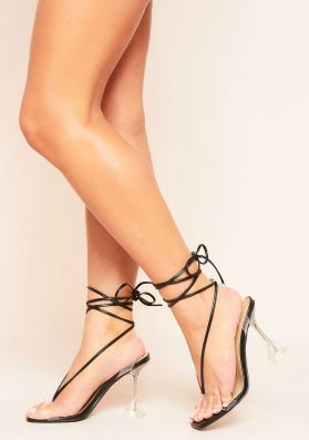 Asya Black Perspex Lace Up Flare Heels