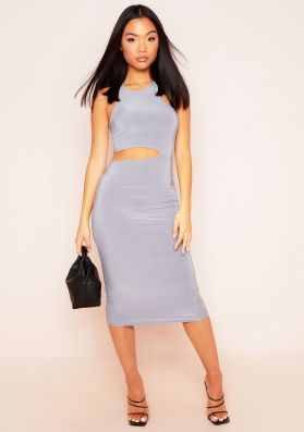 Briella Grey Cut Out Racer Midi Dress
