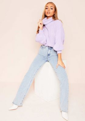 Della Lilac Balloon Sleeve Roll Neck Knitted Jumper