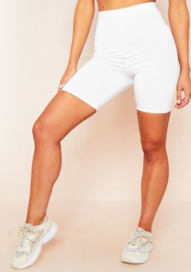 Klara White Double Thickness Slinky Cycling Shorts
