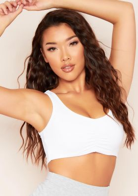 CiCi White Ruched Front Bralet