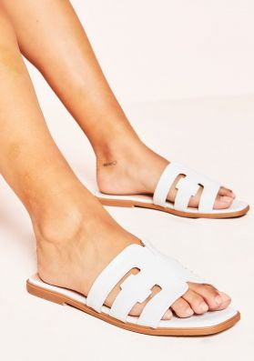 Nylah White Croc Print Cut Out Sandals
