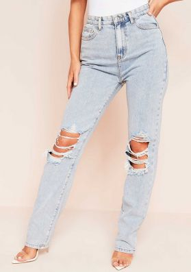 Lucie Light Blue Ripped Straight Leg Jeans