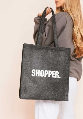 Eleanore Charcoal Slogan Shopper Tote Bag