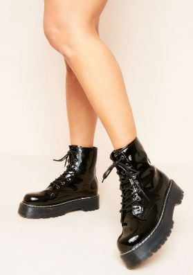Layla Black Chunky Hiker Lace Up Boots