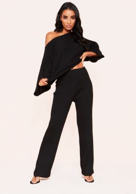 Everleigh Black Ribbed Knit Co-Ord Set