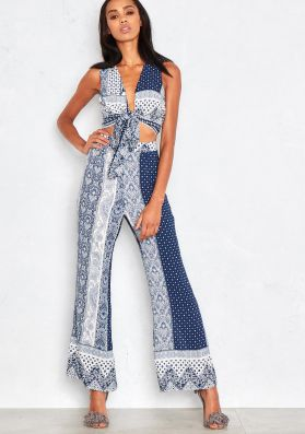 Zoila Blue Paisley Print Crop Top And Plazzo Trouser