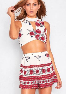 Analisa Cream Floral Cut Out Co-Ord Set