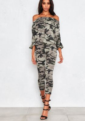 Aisha Camouflage Off The Shoulder With Ruffle Co-Ord
