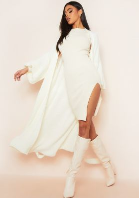Marley Ivory Belted Balloon Sleeve Knitted Cardigan