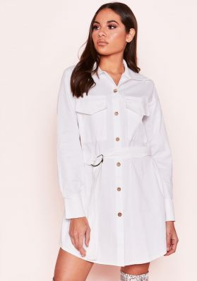 Polly White Utility Belted Shirt Dress