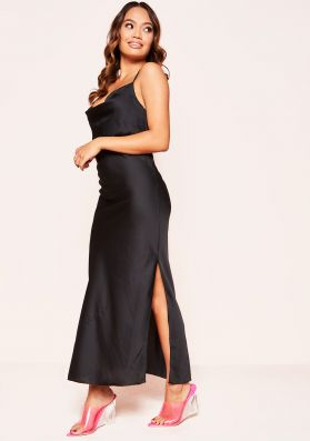 Macy Black Satin Split Midi Slip Dress