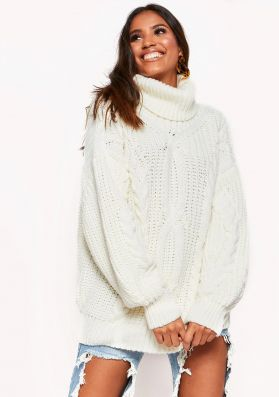 Francesca Cream Cable Knit Roll Neck Oversized Jumper