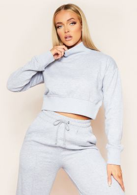Monica Grey Thick High Neck Cropped Jumper