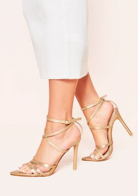 Lindsay Gold Pointed Strappy Heels