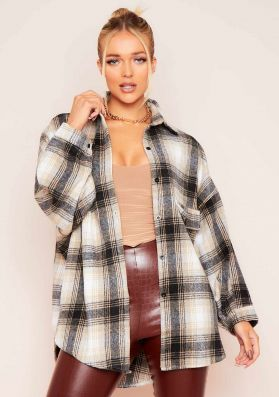 Saskia Beige Checked Oversized Shacket