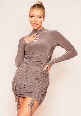 Kimmy Brown High Neck Extreme Ruched Front Thick Luxe Slinky Mini Dress