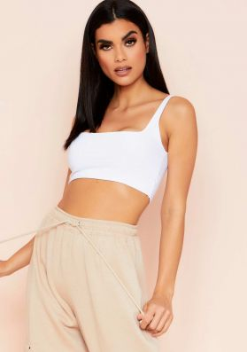 Evelyn White Slinky Square Neck Extreme Crop Top