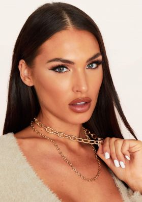 Amy Gold Chunky Double Chain Necklace