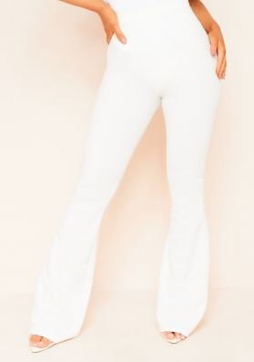 Lorezza White High Waisted Flared Trousers