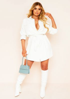 Livia White Faux Leather Belted Mini Dress