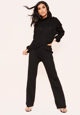 Serena Black Cable Knit Co-Ord Set
