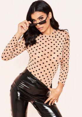 Lillian Nude Mesh Polkadot High Neck Bodysuit
