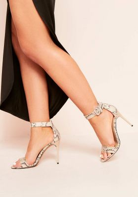 Kya Snakeskin Barely There Heels