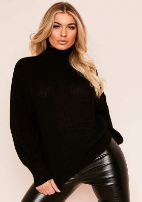 Della Black Balloon Sleeve Roll Neck Knitted Jumper