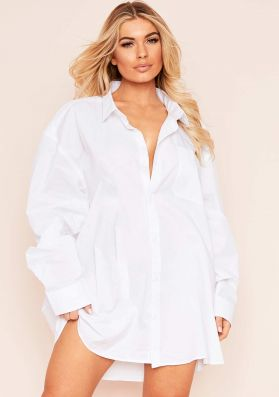 Tara White Oversized Shirt Dress