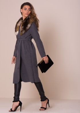 Olyvia Grey Faux Fur Collar Belted Coat