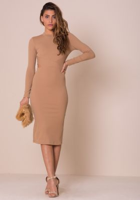 Kassie Camel Cut Out Detail Ribbed Midi Dress