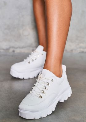 Prima White Chunky Hiker Trainer