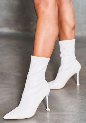 Elnora White Faux Leather Square Heel Sock Boots
