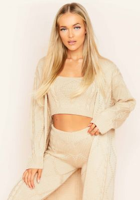 Rocha Beige Cable Knitted Long Oversized Cardigan
