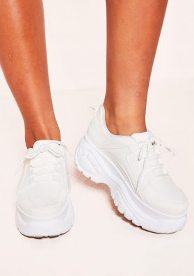 Kelly White Chunky Lace Up Trainers