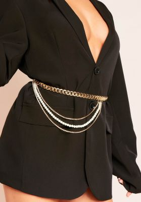 Antuca Gold Chain With Diamante and Pearl Double Layered Belt