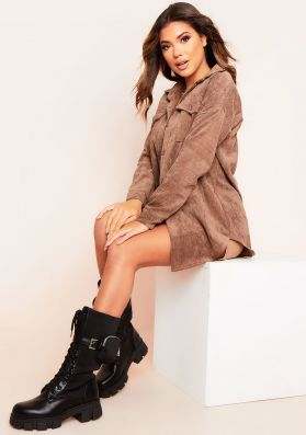 Leah Brown Oversized Pocket Front Cord Button Shirt
