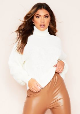 Della Cream Balloon Sleeve Roll Neck Knitted Jumper